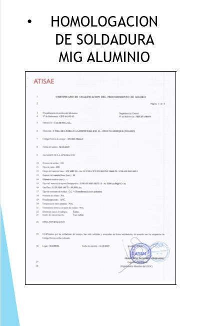 homologacion soldadura mig aluminio - Calderería y Soldadura