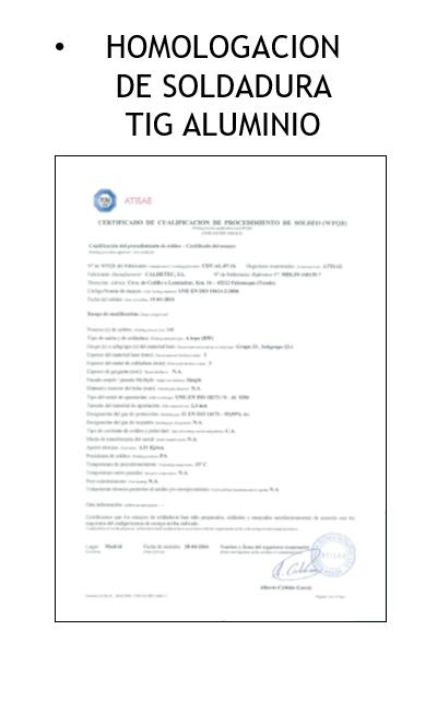 homologacion soldadura tig aluminio - Calderería y Soldadura