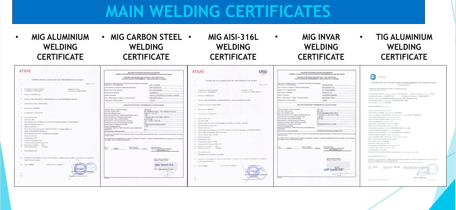 certificates - Metalwork and Welding
